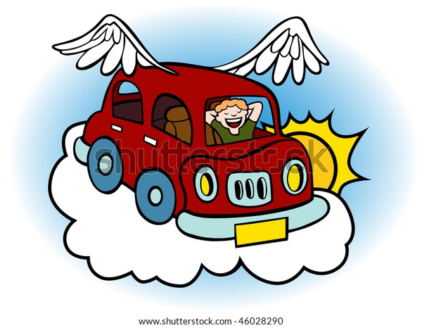 Cartoon of a flying car with wings floating above the clouds.