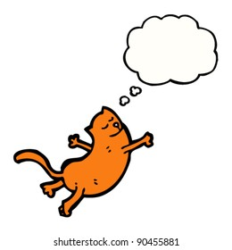 cartoon flying cat with thought bubble