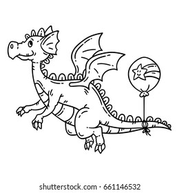 Cartoon flying dragon. Isolated objects on white background. Vector illustration. Coloring pages.
