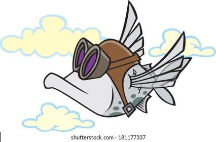 cartoon flying fish wearing goggles