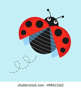 Cartoon flying ladybug on a blue background vector illustration. Funny ladybug in flight in a flat style. Isolated Icon jolly bug or insect.