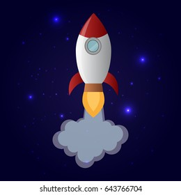 Cartoon flying space rocket in the starry space. Rocket launching