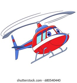 Cartoon flying transport. Helicopter, isolated on white background. Colorful book page for kids and children.