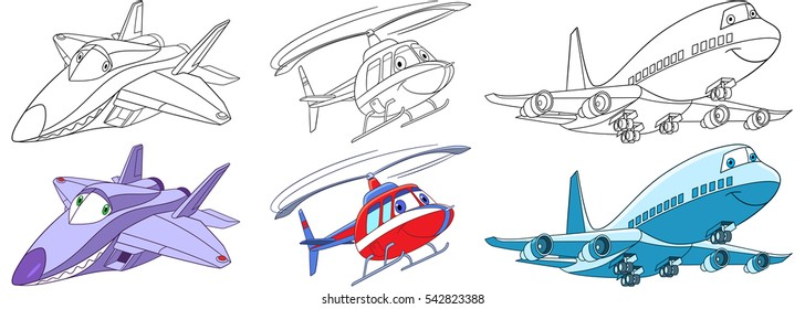 Cartoon flying transport set. Collection of aircraft. Supersonic f22 raptor airplane, helicopter, passenger airliner. Coloring book pages for kids.