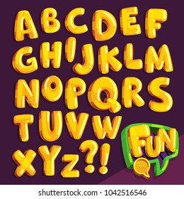"cartoon font ""fun"". set of yellow bubble letters"
