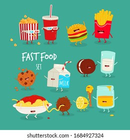 cartoon food set, milk, movie, cookie, lemon, meatball, cheeseburger, French fries, pasta, friends forever. Vector illustration. Use for the menu, in the shop, in the bar, the card or stickers.