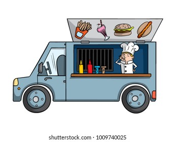 Cartoon food truck with chef inside