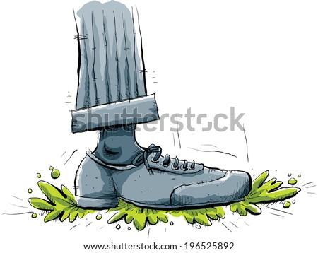 Cartoon Foot Stomps On Some Green Stock Vector Royalty Free