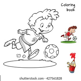Cartoon football player for coloring book. Vector illustration
