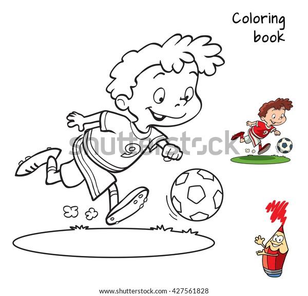 Cartoon Football Player Coloring Book Vector Stock Vector (Royalty Free)  427561828