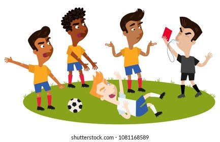 Cartoon football referee blowing whistle, holding red card, tackled player taking a dive, opponents complaining isolated on white background