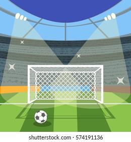 Cartoon Football Soccer Field Flat Design Style for Poster Card. Vector illustration