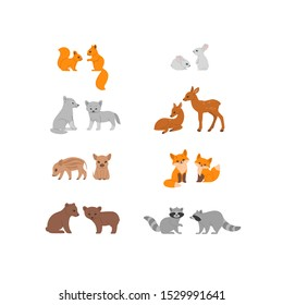 Cartoon forest animal character. Set of animal characters - raccoon, fox, hare, bear, marten, wolf. Childish vector print for nursery, kids apparel, poster, postcard, pattern.