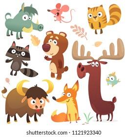Cartoon forest animal characters.  Big set of cartoon forest animals flat vector illustration. Squirrel, mouse, raccoon, boar, fox, buffalo, bear, moose, bird. Isolated