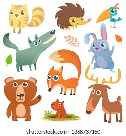 Cartoon forest animal characters. Wild cartoon cute animals set. Big set of cartoon forest animals flat vector illustration design. Squirrel, hedgehog, hamster, wolf, fox, toucan bird, bear, deer