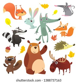 Cartoon forest animal characters. Wild cartoon cute animals set. Big set of cartoon forest animals flat vector illustration design. Squirrel, mouse, badger, wolf, fox, beaver, bear, moose