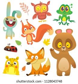 Cartoon forest animals characters set.Vector illustration. Big set of cartoon woodland animals illustration. Squirrel, owl, bunny rabbit,frog, chipmunk, fox, bear, ladybug. Isolated