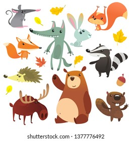Cartoon forest animals. Funny cartoon animals set. Flat vector illustration design. Squirrel, mouse, badger, wolf, fox, beaver, bear, moose