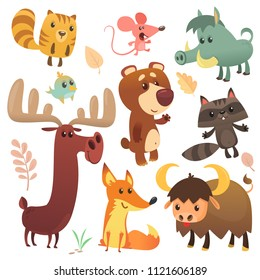 Cartoon forest animals set. Vector illustrated. Squirrel, mouse, raccoon, boar, fox, buffalo, bear, moose, bird. Isolated