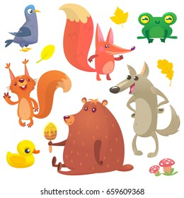 Cartoon forest animals set. Vector set of animal icons isolated on white. Vector illustration of pigeon, fox, frog, squirrel, duck, bear and wolf. Design for logo, print, emblem or children book