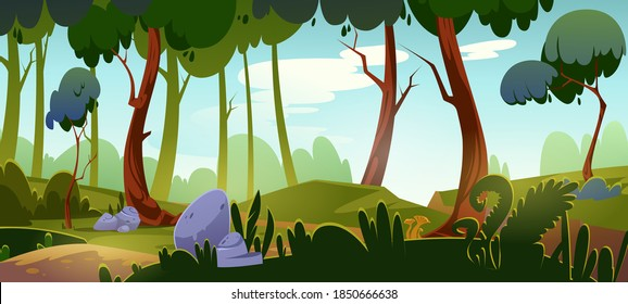 Cartoon forest background, nature landscape with deciduous trees, rocks, green grass and bushes on ground. Beautiful scenery view, summer or spring wood or park area with plants, vector illustration