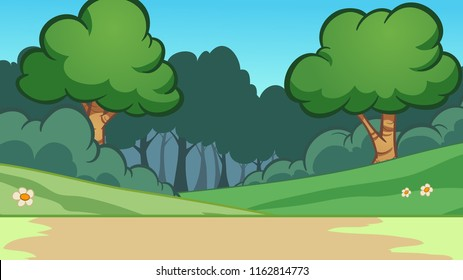 Cartoon forest background. Vector clip art illustration with simple gradients. Some elements on separate layers.