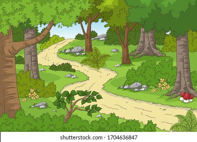 Cartoon forest landscape with hiking trail. Hand drawn vector illustration with separate layers.