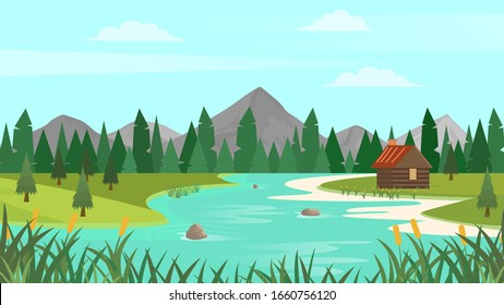 Cartoon forest landscape with mountains, river and fir-trees. Sunset or sunrise scenery background. Vector illustration