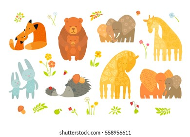 Cartoon Forest Pattern with Animals Parent with Baby. Brightly colored childish animals. Mothers and children. Vector illustration. Cute animals for Mother's Day. Animals mom and baby