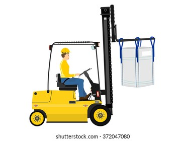 Cartoon forklift with the bulk bag on the forks. Vector on one layer without gradients.