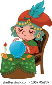 Cartoon Fortuneteller Character (Vector illustration)