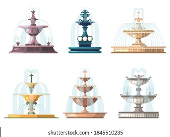 Cartoon fountains. Outdoor gardening decorative symbols nature water fountains vector collections