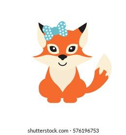 cartoon fox with bow