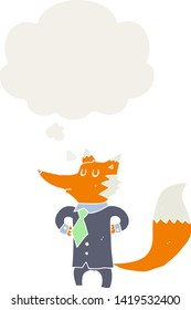 cartoon fox businessman with thought bubble in retro style