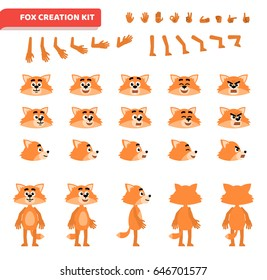 Cartoon fox creation set. Various gestures, emotions, diverse poses, views. Create your own pose, animation. Flat style vector illustration