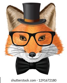Сute cartoon fox with glasses and cylinder hat.  Character fox. Good fox for design. Idea for design T-shirt with fox.