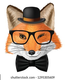 Сute cartoon fox with glasses and hat.  Character fox.