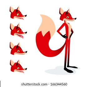 Cartoon fox with little set of expressions