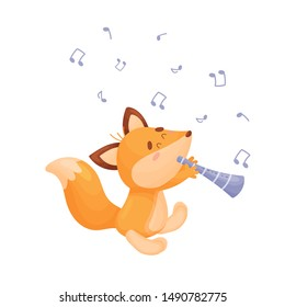 Cartoon fox with a pipe. Vector illustration on a white background.