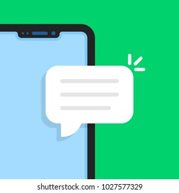 cartoon frameless phone like online chat. flat style trend simple logo graphic art design isolated on green background. concept of instant opinion spam message and people dating or hotline chatting