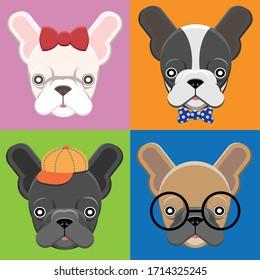 Cartoon French Bull Dog Vector