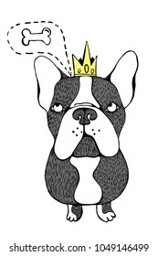 Cartoon French Bulldog. Vector Illustration isolated on white background.