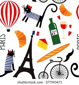 Cartoon french culture symbols seamless pattern. Funny Paris illustration: wine, Eiffel tower, baguette, retro bicycle, mustache, cheese.  Summer holidays in Paris vector background.