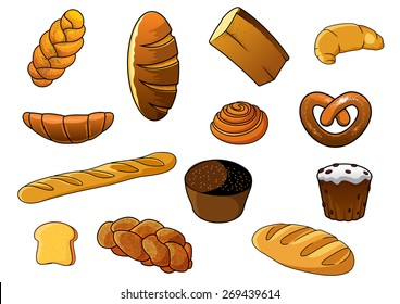 Cartoon fresh bakery products depicting loaves of white and brown bread, long loaves, baguette and sweet cinnamon bun, croissants, plaited loaves with poppy seeds, cake with raisins and salty pretzel