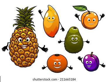 Cartoon  fresh tropical fruits set with a happy smiling plum, pineapple, apricot, orange, peach, mango and avocado, for agriculture logo design