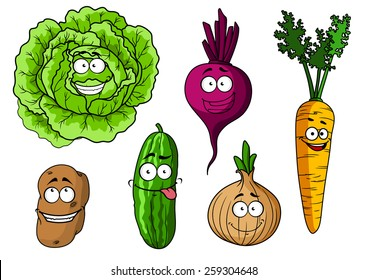 Cartoon fresh vegetables characters with  cabbage, beet, onion, carrot, potato and cucumber