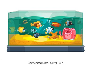 Cartoon freshwater fishes in tank aquarium vector illustration. Exotic cartoon fish in aquarium illustration.