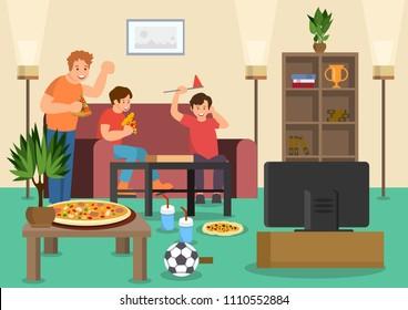 Cartoon friends fans eat pizza watching football match on TV. Vector illustration. Clipart. Flat style.