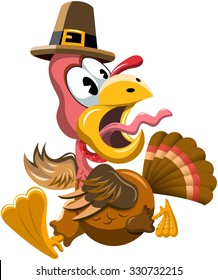Cartoon Frightened Turkey Escaping at Thanksgiving Day isolated