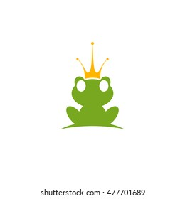 Cartoon frog with crown. Vector logo animal.